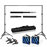 10 Feet Wide Backdrop Support Stand Cross Bar Kit with Spring Clamp and Counter Weight Sand Bag for Stabilizing Structure, Photo Video Studio Setting, LNA1018-EYLS1070