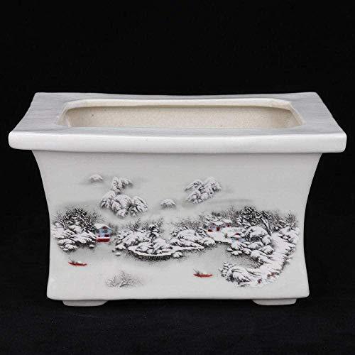 Escultura Porcelana Antigua China Famille Rose Pintura A Mano Escena De Nieve Macetas De Pincel...