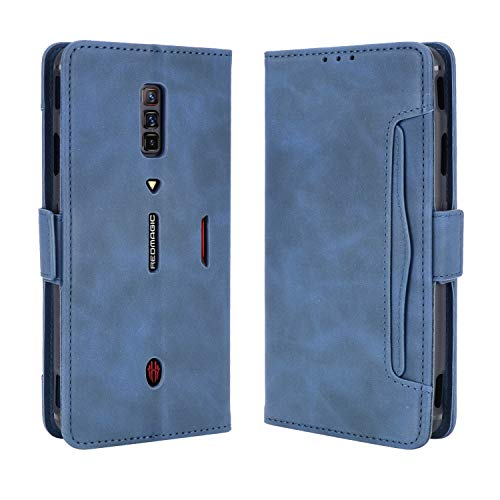 MingMing Lederhülle für ZTE Nubia Red Magic 6 Pro Hülle, Tasche Cover Etui Handyhülle für ZTE Nubia Red Magic 6 Pro, Blau