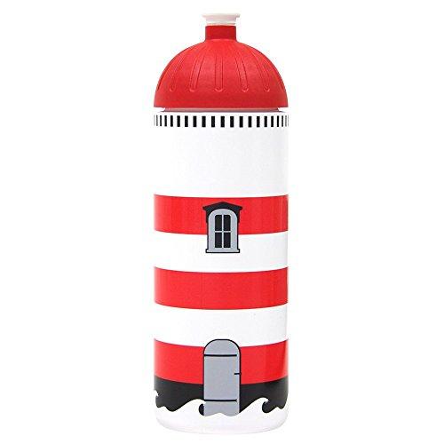 Original ISYbe Marken-Trink-Flasche für Klein-Kinder, 500 ml, BPA-frei, Leuchtturm-Motiv für Mädchen & Jungen, für Schule-Reisen-Kita-Kiga-Outdoor, Auslaufsicher auch mit Sprudel, Spülmaschine-fest