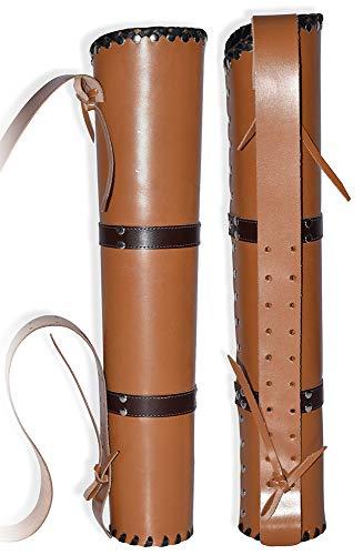 UNIVERSE ARCHERY Arqueiro de aljava | Suporte de flecha de couro de vaca genuíno | tradicional aljava feita à mão para esportes de caça e arco | Leve e confortável | Marrom