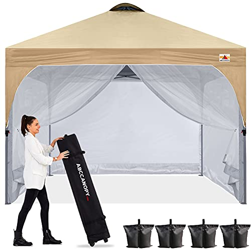 ABCCANOPY Pop Up Canopy with Mesh Mosquito Netting Wall, Camping Screen Houses Screen Rooms, Instant Canopy Tent, Beige