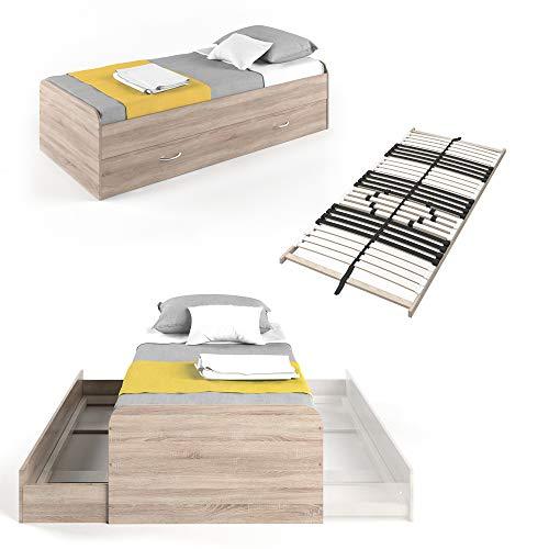 VitaliSpa Kojenbett Bett Enzo Jugendbett mit Gästeliege Funktionsbett 90x200 cm (Sonoma mit Lattenrost)