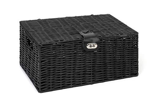 Arpan Medium Resin Woven Storage Basket Box with Lid & Lock - Black