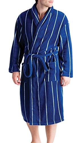 Tom Franks Supersoft Molleton Stripe Peignoir Bleu Marine et Blanc Large/X-Large