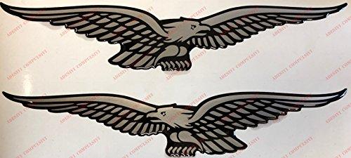 Stemma logo decal MOTO GUZZI, coppia adesivi resinati, effetto 3D. Coppia di AQUILE speculare (destra e sinistra) per SERBATOIO