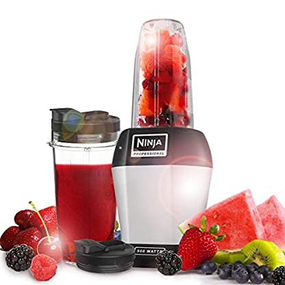 Ninja-BL450EU-Standmixer-Smoothie-Maker-mit-Pro-Extractor-Klingen-Nutrition-Mixer-mit-2-to-go-Mixbechern-650ml-500ml-auslaufsicheren-Deckeln-Kuechenmixer-Zerkleinerer-900-Watt-silberschwarz
