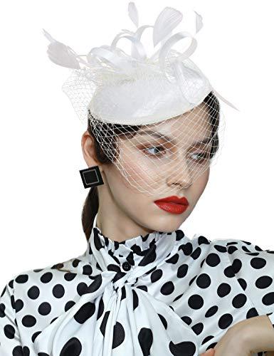 Coucoland Fascinator - Pastillero de malla de plumas para velo de flores con clip para el pelo, tocado para novia, boda, iglesia, Derby, sombreros de raza de los años 20 (D-Beige)