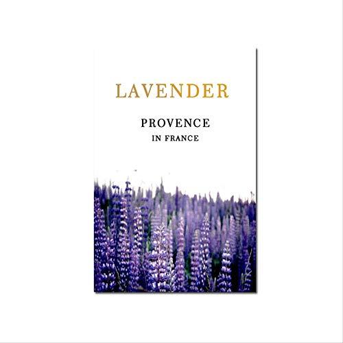 LWJZQT Canvas foto's Scandinavische moderne stijl lila lavendel bloemen en planten poster voor woonkamer huis decoratie schilderij oningelijst