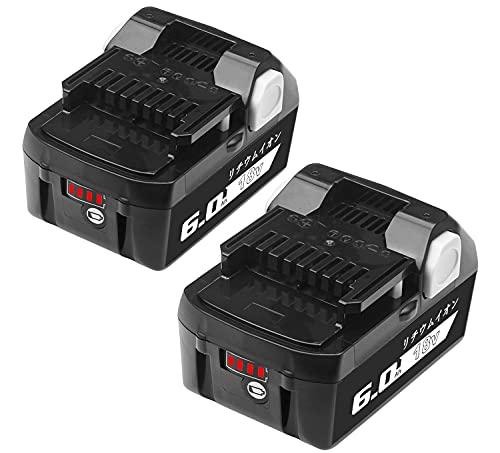 Okey互換 日立 18v バッテリー 2個セット BSL1860B 18.0V 6000mAh BSL1830 BSL1840 BSL1850 BSL1860対応バッテリー2個セットLED残量表示付き ハイコーキ 18v バッテリー HiKOKI hikoki 18v バッテリー 日立工機 バッテリー 2個セット