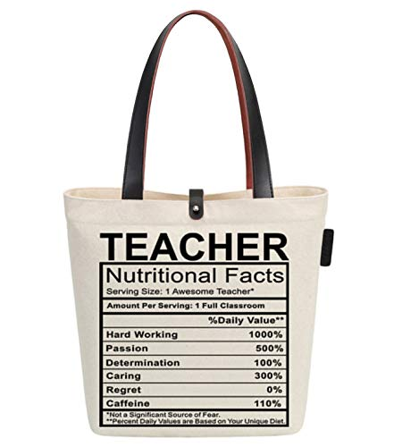So'each Women's Best Teacher Gift Graphic Top Handle Canvas Tote Shoulder Bag