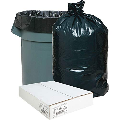 Nature Saver Black Low-Density Recycled Can Liners Trash Bag, Medium, 100 per Carton
