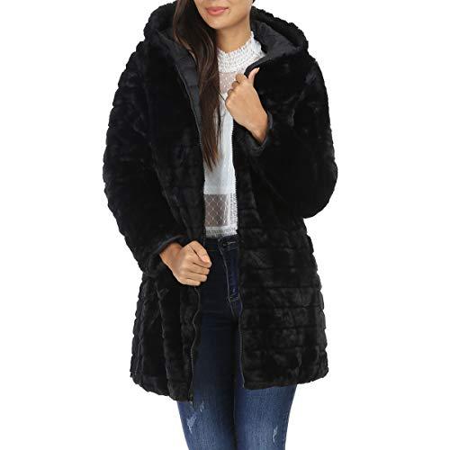 La Modeuse - Manteau Doudoune réversible: Un côté matelassé et Un côté Fausse Fourrure
