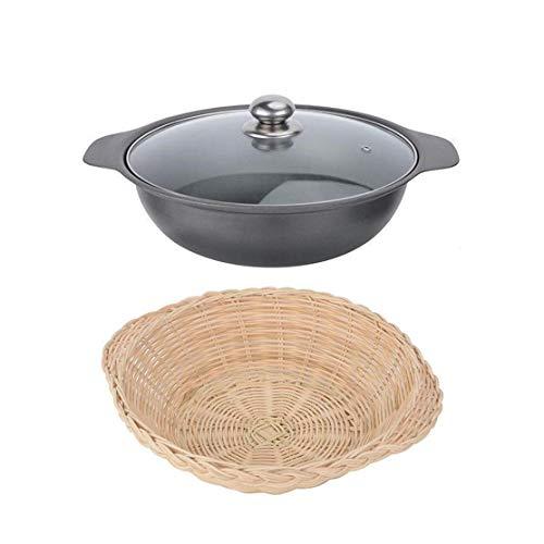 Mini Wok en Fonte avec Couvercle 18cm / 20cm / 22cm / 24cm / 26cm / 28cm / 30cm pour cuisinière à Induction à réchaud, Wok de présentation de Table pour Un/Multi-utilisateurs (Couleur: NOI