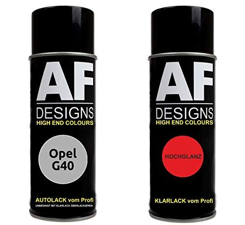 Alex Flittner Designs Autolack Spraydose Set für Opel G40 MONDSTEIN GRAU metallic Basislack Klarlack Sprühdose 400ml