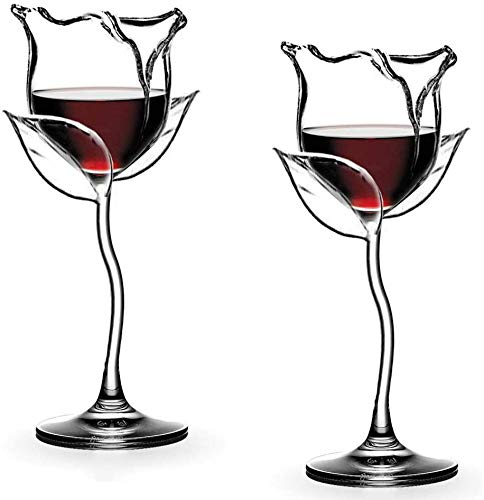 Wine Glasses Red Wine Goblet Wine Cocktail Glasses Rose Flower Shape Lead-Free Wine Glass for Party Dinner Wedding Festival (Couple) (Couple)