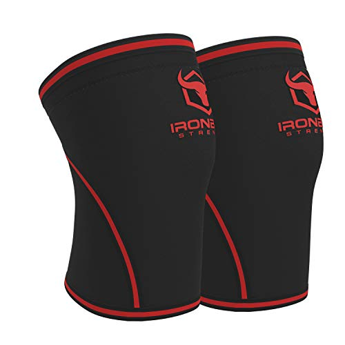 Knee Sleeves 7mm (1 Pair) - High Performance Knee Sleeve Support For Weight Lifting, Cross Training & Powerlifting - Best Knee Wraps & Straps Compression - For Men and Women (Black/Red, Large)