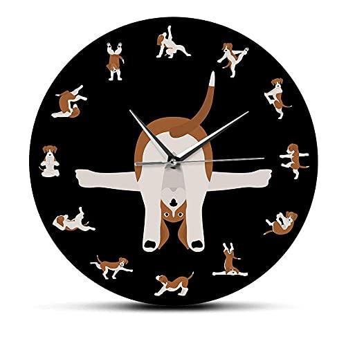 wffmx Perros en posturas de Yoga Decoración del hogar Cachorro Perro Estilo de Vida Fitness Alegría Reloj de Pared cómico Animales Humor Yoga Perros Impreso Reloj de Pared silencioso -30X30cm