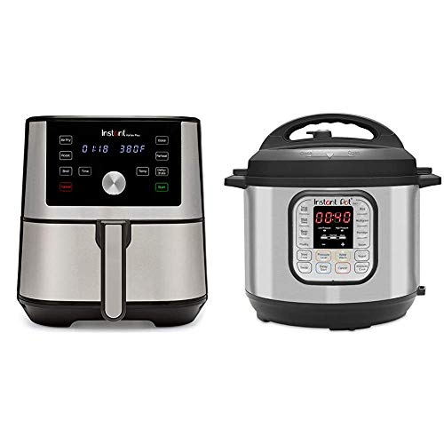 Instant Vortex Plus Air Fryer 6 in 1, Best Fries Ever, Dehydrator, 6 Qt, 1500W & Duo 7-in-1 Electric Pressure Cooker, Sterilizer, Slow Cooker, Rice Cooker, 6 Quart, 14 One-Touch Programs