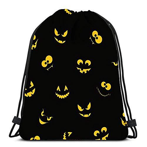 Kordelzug Taschen Rucksack Spooky and Crazy Ghosts Monster Gesichter im Dunkeln für Halloween Travel Gym Taschen Rucksack Umhängetaschen
