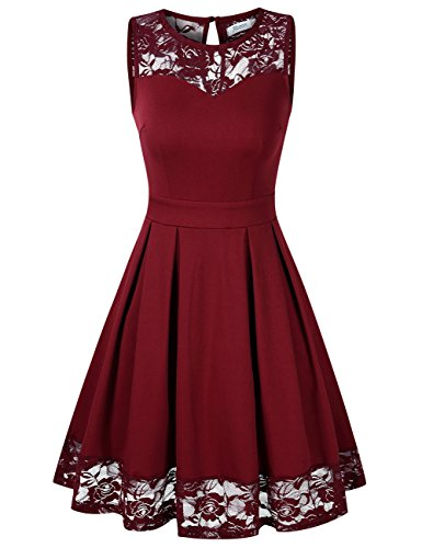 KOJOOIN Damen Elegant Kleider Spitzenkleid Ohne Arm Cocktailkleid Knielang Rockabilly Kleid Rot Bordeaux Weinrot L