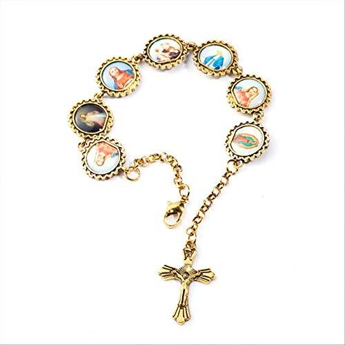 FSJF Pulsera Cruz Pulsera Jesús Virgen María San Imagen Pulsera para Mujeres y Hombres Joyería Religiosa J020090