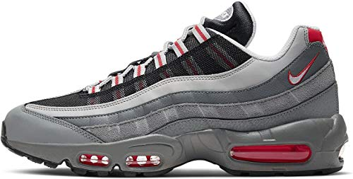Nike Unisex_Adult AIR MAX 95 Essential Running Shoe, Track Red White Particle Grey Black Grey Fog Track Red, 6 UK