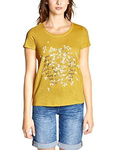CECIL Damen 313739 T-Shirt, Mehrfarbig (Ceylon Yellow 31892), Large (Herstellergröße:L)