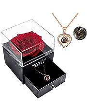 Sunia konserverad äkta ros, evig handgjord bevarad ros med I Love You-halsband på 100 språk, gåva, förtrollad äkta ros, blomma för Alla hjärtans dag, årsdag, bröllop, romantisk gåva till henne.