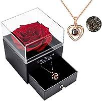 Rosa reale conservata Eterna fatta a mano Rosa preservata fatta a mano con amore collana Set regalo, rosa reale...