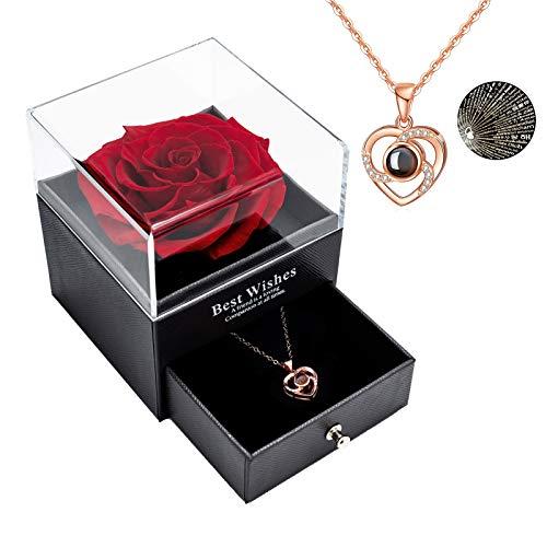 Rosa real preservada Eterna hecha a mano Rosa preservada con amor, collar de regalo, flor rosa real encantada para el día de San Valentín Aniversario Deshierbe cumpleaños Regalos románticos para e