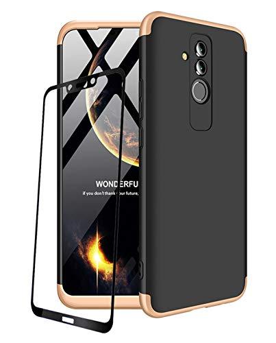 Huawei P20 custodia 360 gradi rosso nero ultra sottile tutto con protezione 3 in 1 PC Telefono Cover + vetro temperato pellicola protettiva schermo JOYTAG-rosso nero.