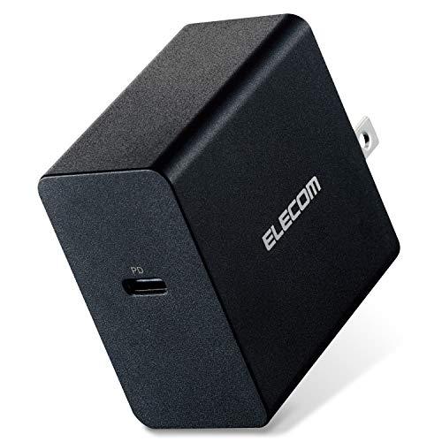 エレコム ノートPC用ACアダプター PD対応 45W Type-C1ポート GaN(窒化ガリウム) ブラック ACDC-PD0745BK