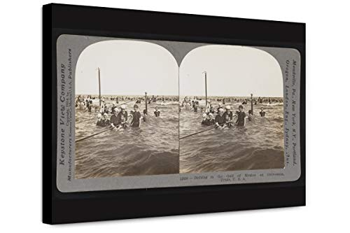 ClassicPix Canvas Print 12x18: Bathing in The Gulf of Mexico at Galveston, Texas USA, 1914