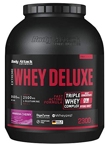 Body Attack Extreme Whey Deluxe, biscotti, proteina in polvere con aminoacidi e Triplo-Whey-Complex con Whey Isolate, a basso contenuto di zuccheri e di grassi, ciliegia Amarena da 2,3 kg, Made in Germany