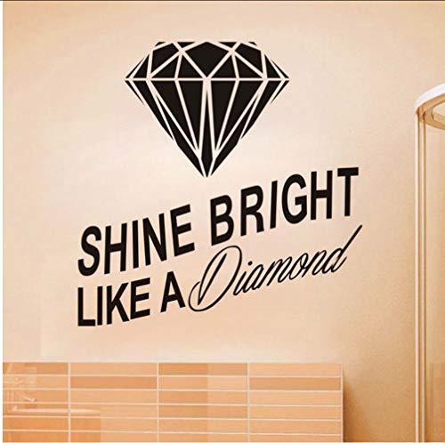 Chellonm Shine Shine Like A Diamond Cita Etiqueta De La Pared Diamante 3D Tatuajes De Pared Diseño Moderno Decoración Para El Hogar Diy Vinilo Arte De La Pared Wallpaper 58 * 58 Cm