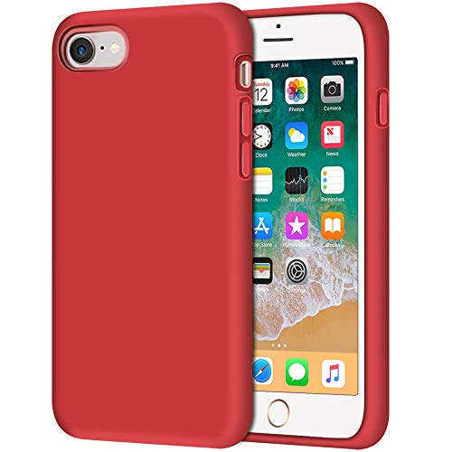 Anuck iPhone SE 2020 Case, iPhone 8 Case, Non-Slip Liquid Silicone Gel Rubber Bumper Case Soft Microfiber Lining Hard Shell Shockproof Full-Body Protective Case Cover for iPhone 7/8/SE 4.7