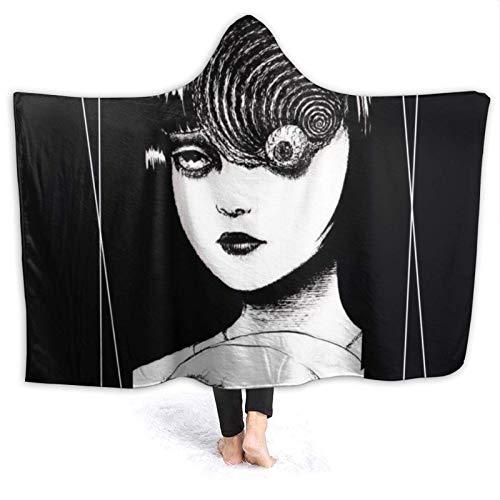 Soft Tomie Eye Jun Ji Ito - Manta de Halloween para vestir con capucha, manta con capucha, cálida felpa para mujeres, hombres, invierno, novedad, manta para reloj, TV, sofá, cama, 50 x 40 pulgadas,