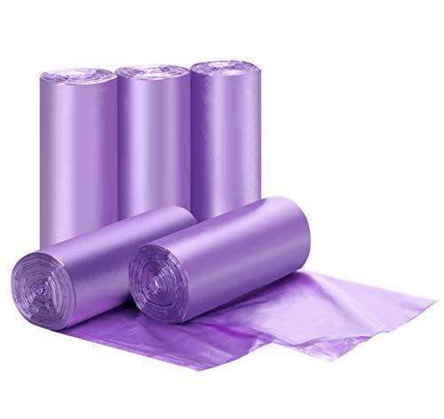 Bolsas de basura pequeñas – 5 rollos de 5 bolsas de basura pequeñas bolsas de basura para baño hogar y oficina, 5 litros bolsas de basura moradas 200 unidades