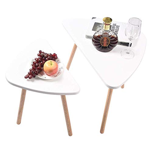 GWFVA Nesting Side Table,2Pack Nesting Side Tables Coffee Table Set End Side Lamp Tables MDF Triangle Occasional Stand Tea Coffee Dining Table for Home Living Room Office White