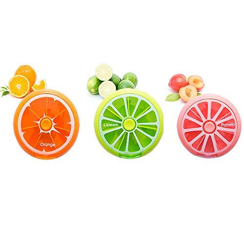 cholinchin Tragbare 7 Tage Pillendose Tablettendose Pillenbox Rund Medikament Box Tablettendose für Pillendöschen Eine Woche Hosentasche Vitamin Aufbewahrungsbox (3Stück) 3 Farben Grün,Orange,Pink