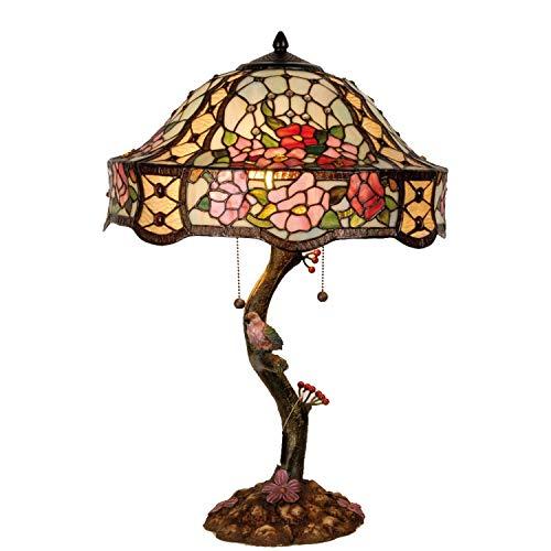 Lumilamp 5LL-5631 - Lampada da tavolo Art Deco Tiffany Style, Ø 45 x 62 cm, 3 x E27 / Max 60 W, in vetro colorato