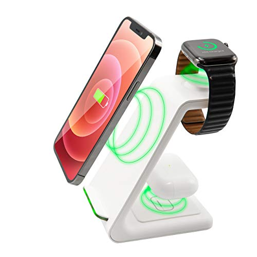 3 in 1 Wireless Ladestation Weiss White Edition - All in One - für Apple Watch 6/5/4/3/2, AirPods Pro/2, Fast Charging für iPhone 11 Pro/12 Pro/Max/XS/XR/8Plus/8/X/SE 2
