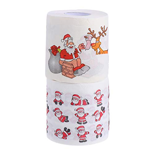 Vosarea 2 Rolls Christmas Toilet Paper Tissue Napkin Santa Reindeer Prank Fun Props Novelty Hand Towels for Xmas Holiday Birthday Party Party Favor