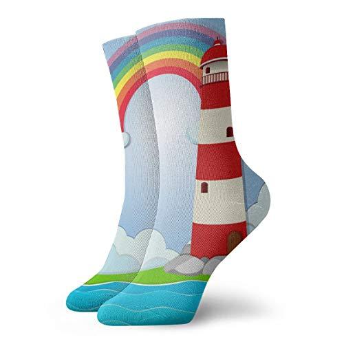 Pengyong - Calcetines deportivos para hombre y mujer con diseño de faro de arcoíris