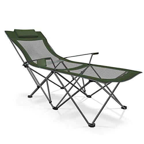 FSFF Tumbona de Metal, Tumbona Plegable Verde, 170 * 87 * 70 cm, 100 kg máx.Carga estática, Resistente a la oxidación, con Tejido sintético Transpirable para Piscina de Playa, Patio al Aire libr