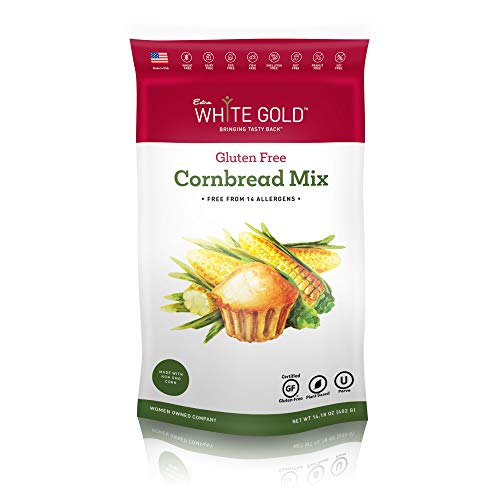 Extra White Gold Gluten Free Cornbread Mix – For Bread Muffins Cornbread – [Plant Based] [Gluten Free] [Allergy Free] [Soy Free] [Nut Free] [Kosher] – 14.18 Ounces