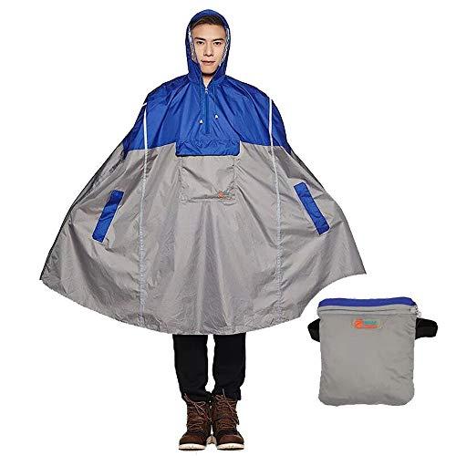 SudaTek - Poncho de lluvia ligero para ciclismo con capucha para bicicleta, resistente al agua y transpirable con tiras reflectoras para hombre y mujer, Unisex adulto, azul, talla única