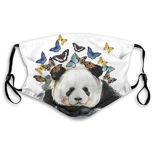 Máscara de panda con diseño de mariposa, ajustable, pasamontañas y pañuelos con papel de filtro para niños, adolescentes, hombres, mujeres, M