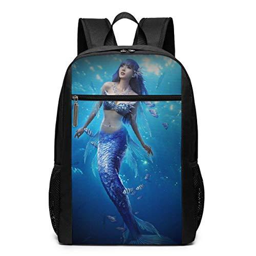 Homebe Rucksäcke,Daypack,Schulrucksack Navy-Blue Mermaid Laptop Backpack for Women Men Stylish Backpack College School Backpack Business Travel Durable Backpack Fit Laptop